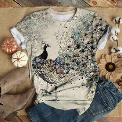 PEACOCK SPREADING TAIL T-SHIRT