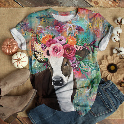 COW WEARING FLOWER CROWN T-SHIRT
