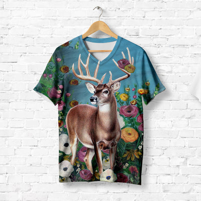 DEER IN FLOWER GARDEN T-SHIRT