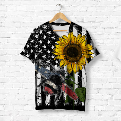 American Flag on Bumblebee With Sunflower T-shirt