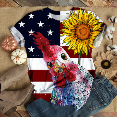 ROOSTER WITH SUNFLOWER T-SHIRT
