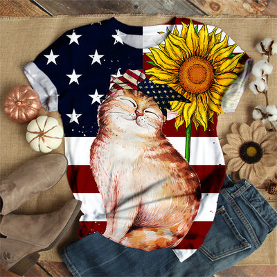 AMERICAN CAT FLAG T-SHIRT