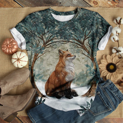 LONELY FOX IN WINTER T-SHIRT