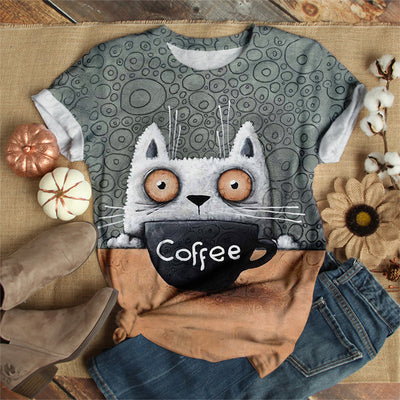 CAT DRINKING COFFEE T-SHIRT
