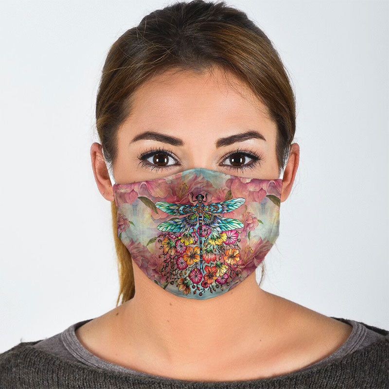 DRAGONFLY FLORAL FACE MASK