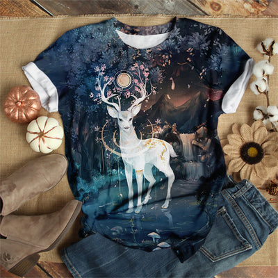 WHITE DEER ON FULL MOON NIGHT T-SHIRT