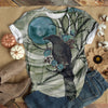RAVEN ON BLUE MOON NIGHT T-SHIRT