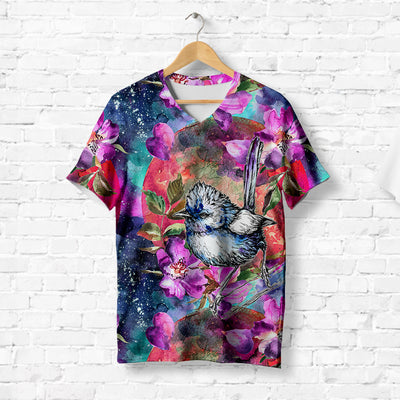 BIRD ON BLOOMING FLOWERS T-SHIRT