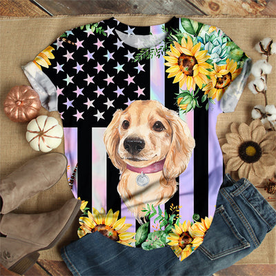 DOG WITH SUNFLOWERS T-SHIRT