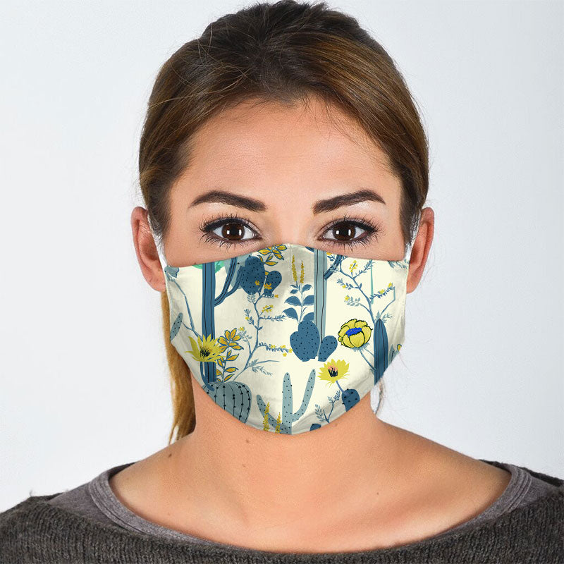 CACTUS PAINTING ON WHITE BACKGROUND FACE MASK