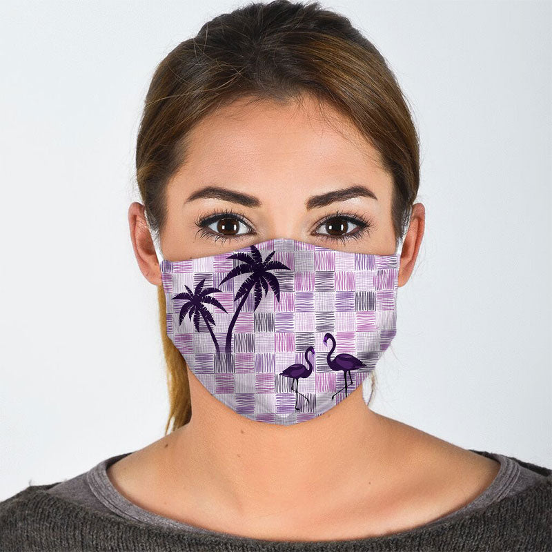 FLAMINGO PALM TREES FACE MASK