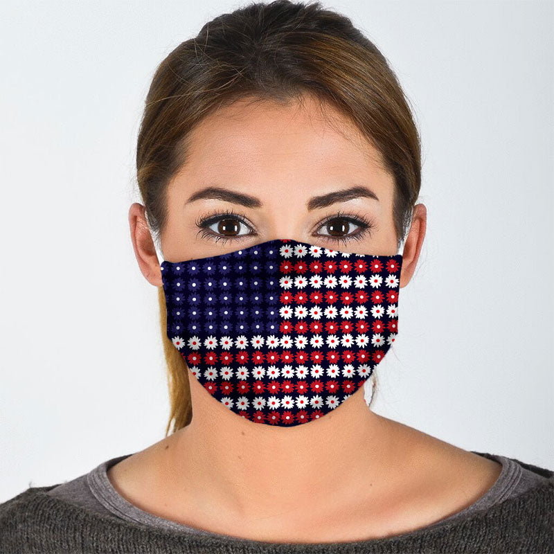 AMERICAN FLAG FLOWER FACE MASK