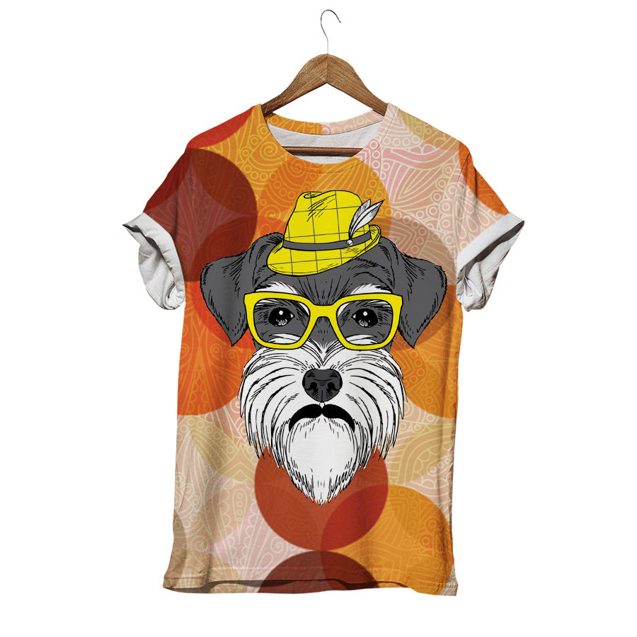 MR SCHNAUZER IN LITTLE YELLOW HAT T-SHIRT