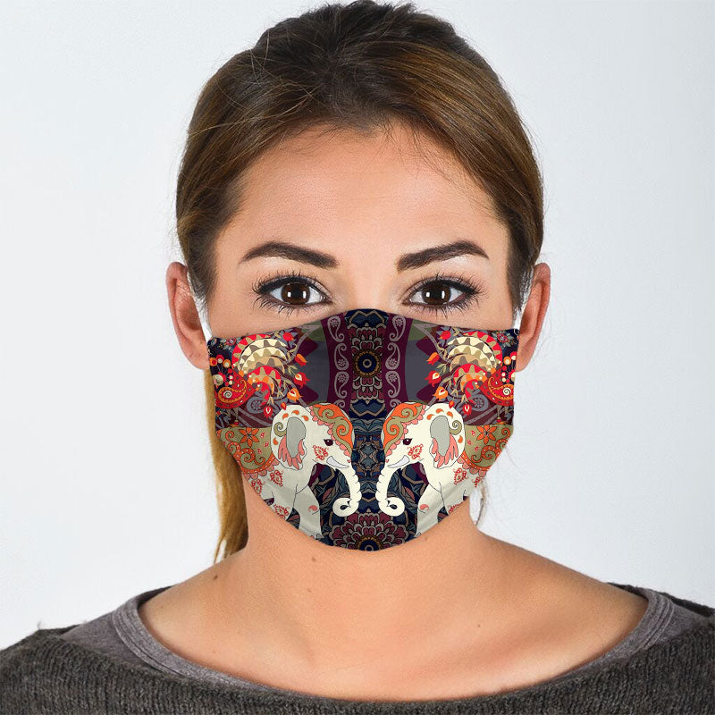 ELEPHANT FLORAL FACE MASK