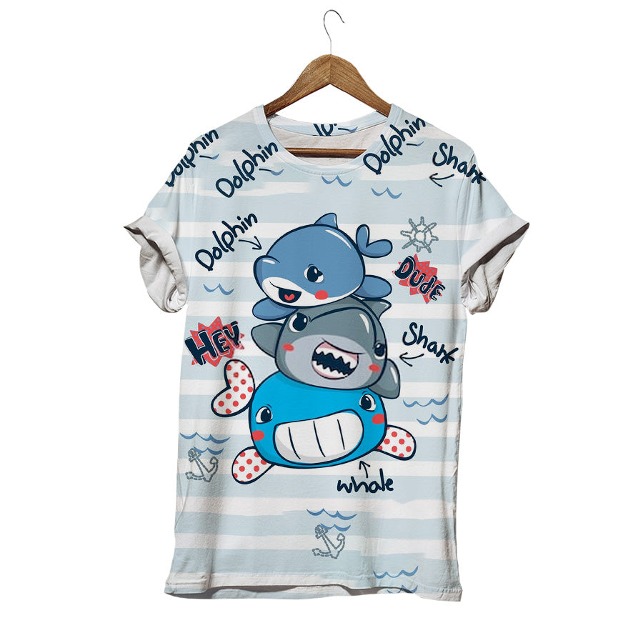 FUNNY CARTOON SEA ANIMALS T-SHIRT