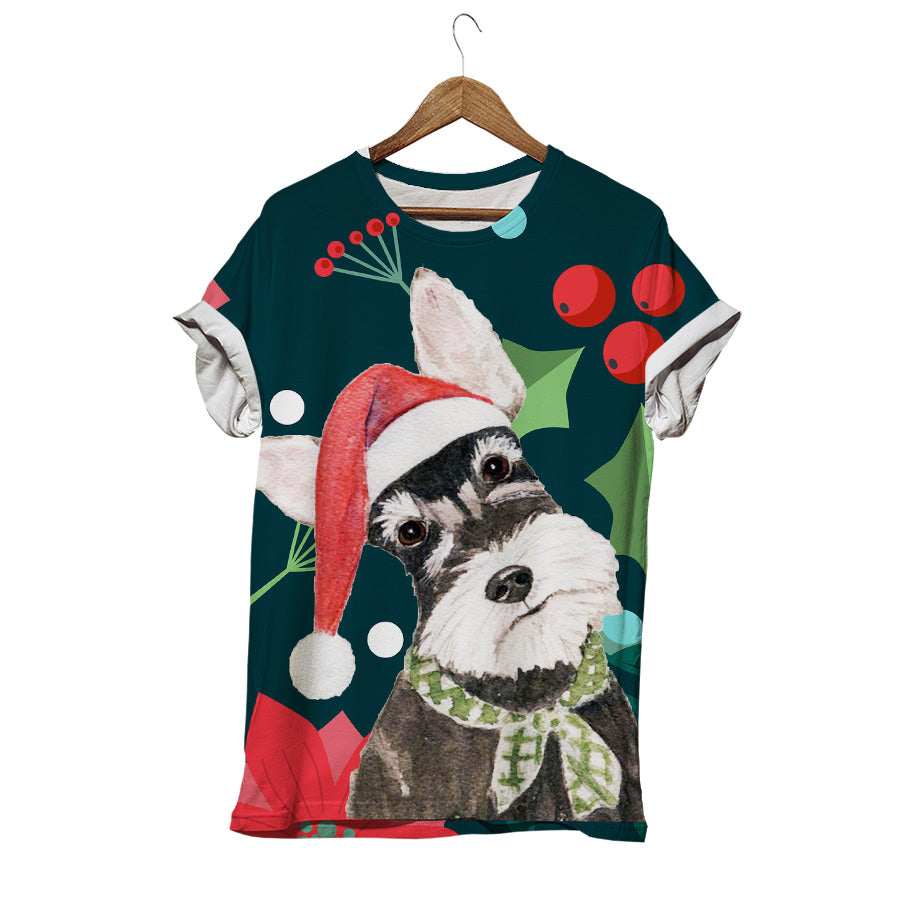SCHNAUZER DOG WEARING SANTA HAT T-SHIRT