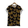 Gold Butteflies On Black T-shirt