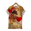 Brown Bear In Hat Holds Strawberry Berry Valentine T-shirt