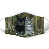BLACK AND WHITE CAT FLORAL FACE MASK
