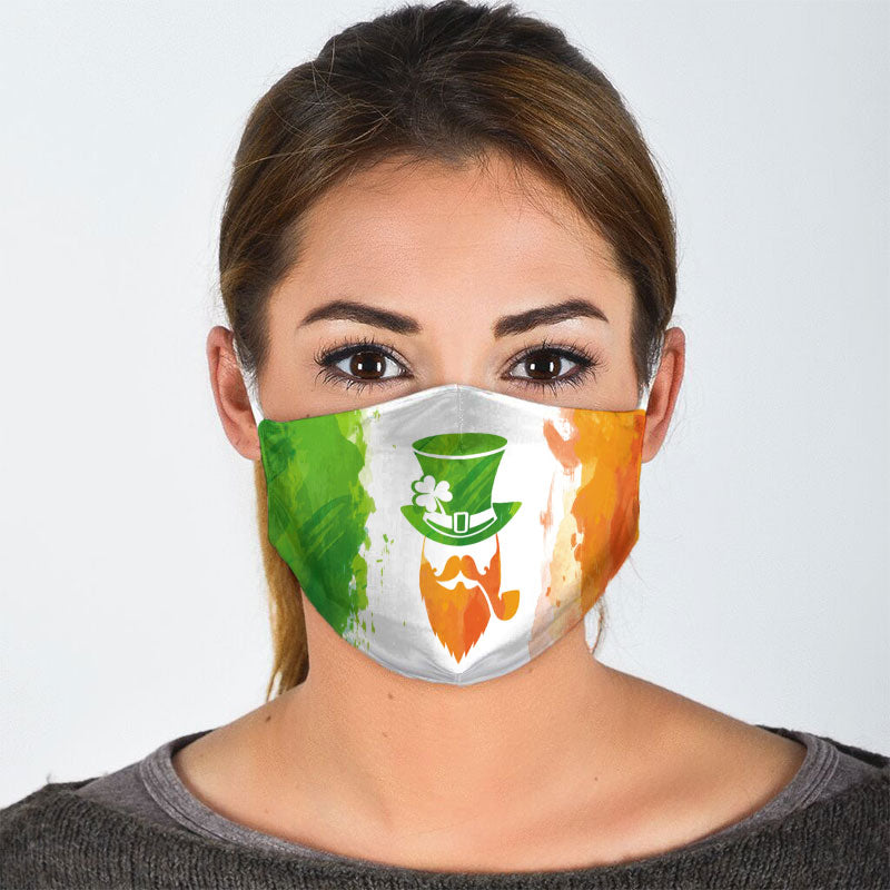 LEPRECHAUN WITH FLAG OF IRELAND FACE MASK