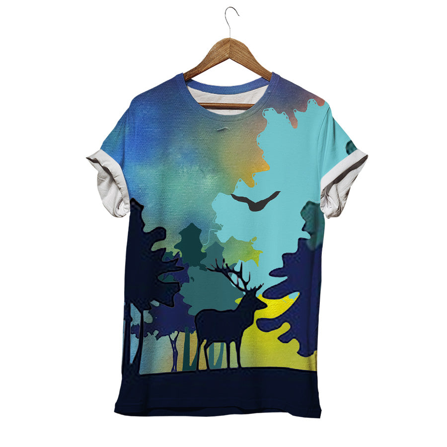 LONELY DEER IN NIGHT JUNGLE T-SHIRT