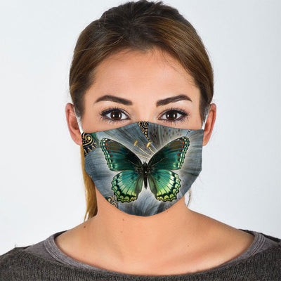 FLORAL GREEN BUTTERFLY FACE MASK