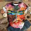 BLUE DRAGONFLY WITH COLORFUL FOLWERS T-SHIRT