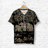 ELEPHANT FAMILY FLORAL T-SHIRT