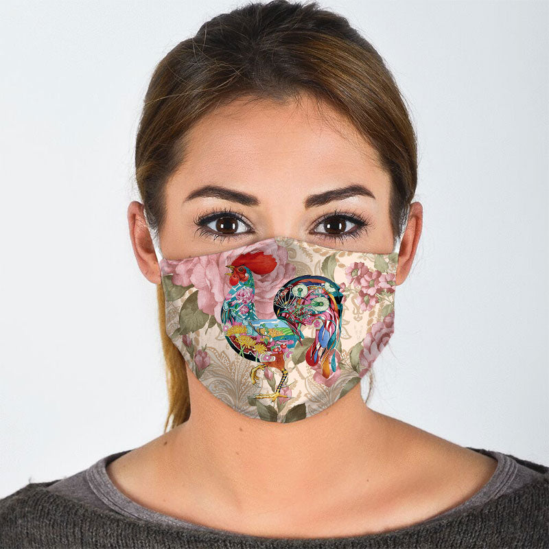 ROOSTER FLORAL FACE MASK