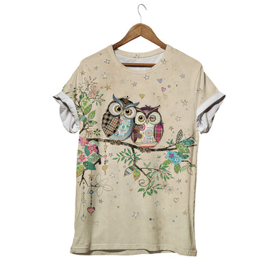 LOVING OWL COUPLE IN SPRING T-SHIRT