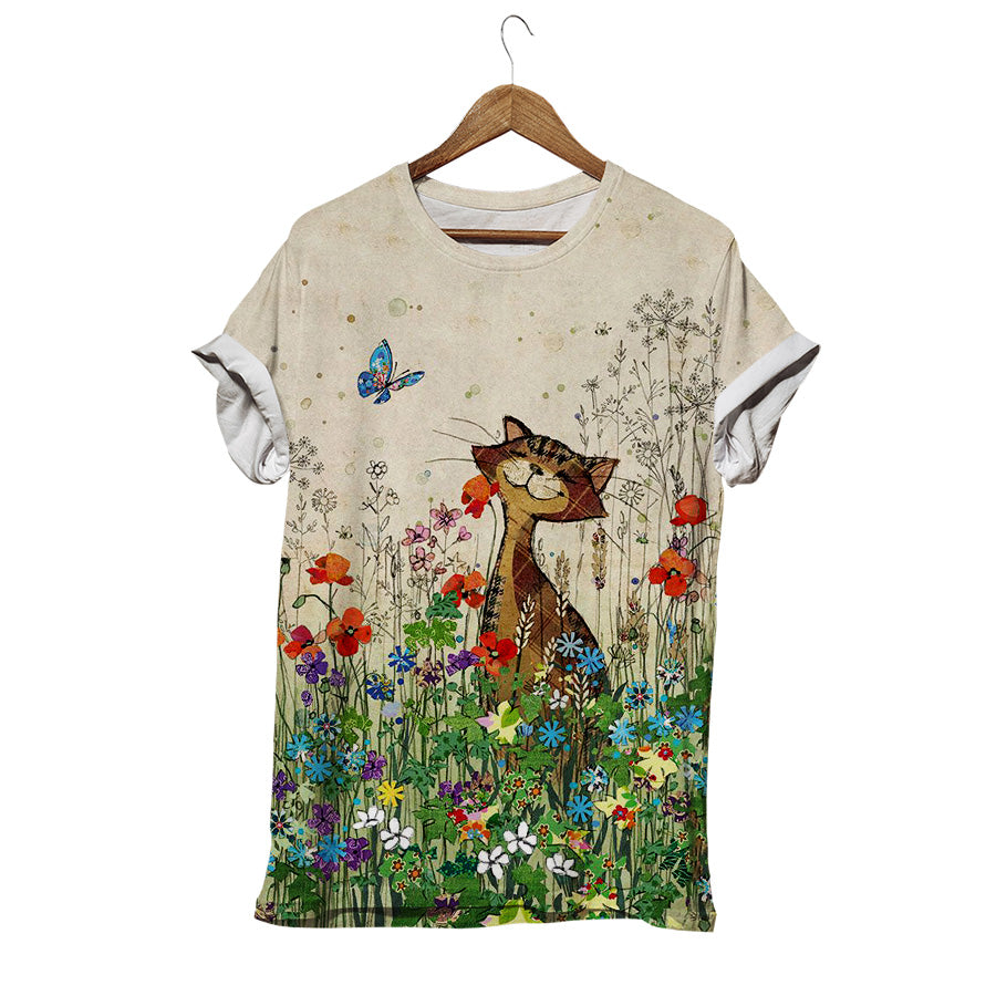 HAPPY CAT WITH FRIEND IN FLOWERS FIELD T-SHIRT