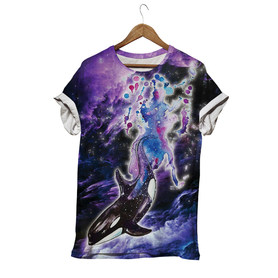 DOLPHIN IN GALAXY T-SHIRT