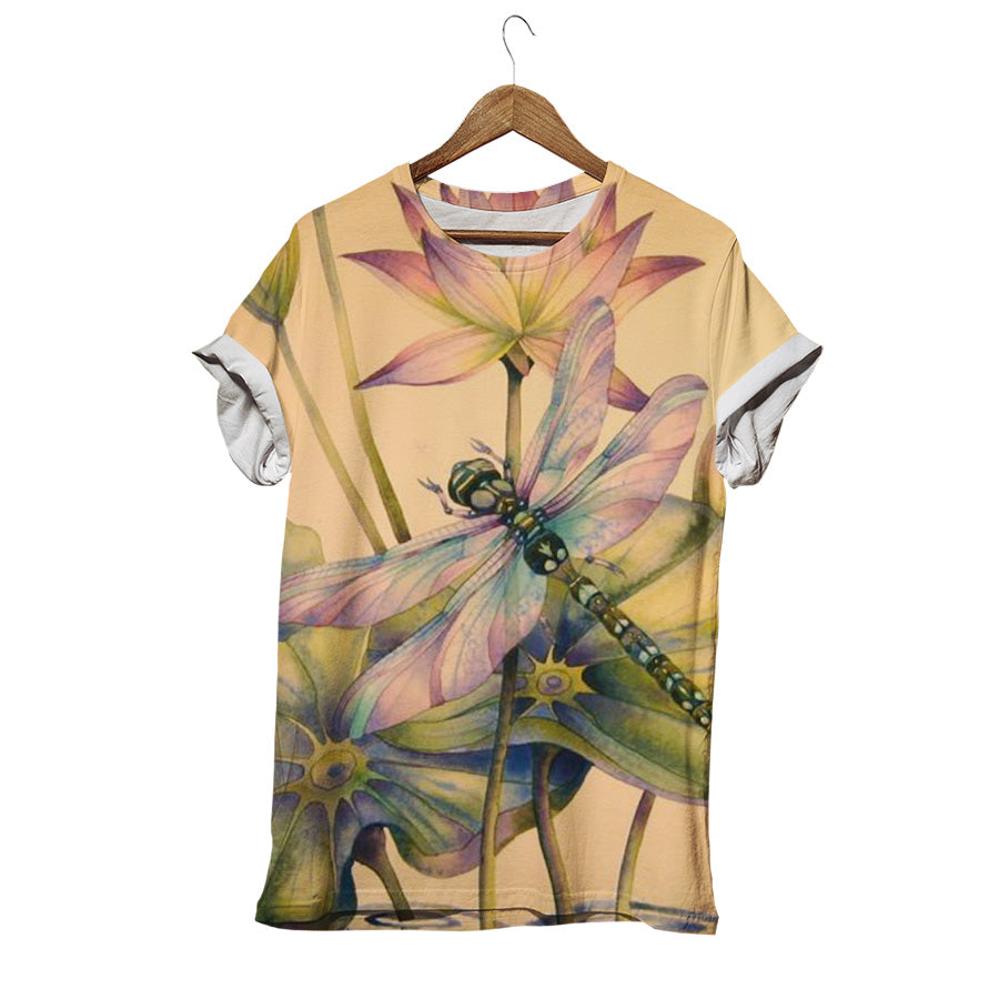 DRAGONFLY WITH LOTUS RETRO T-SHIRT