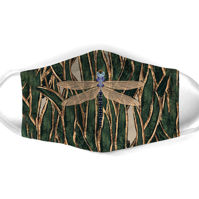 DRAGONFLY ON GRASS FACE MASK