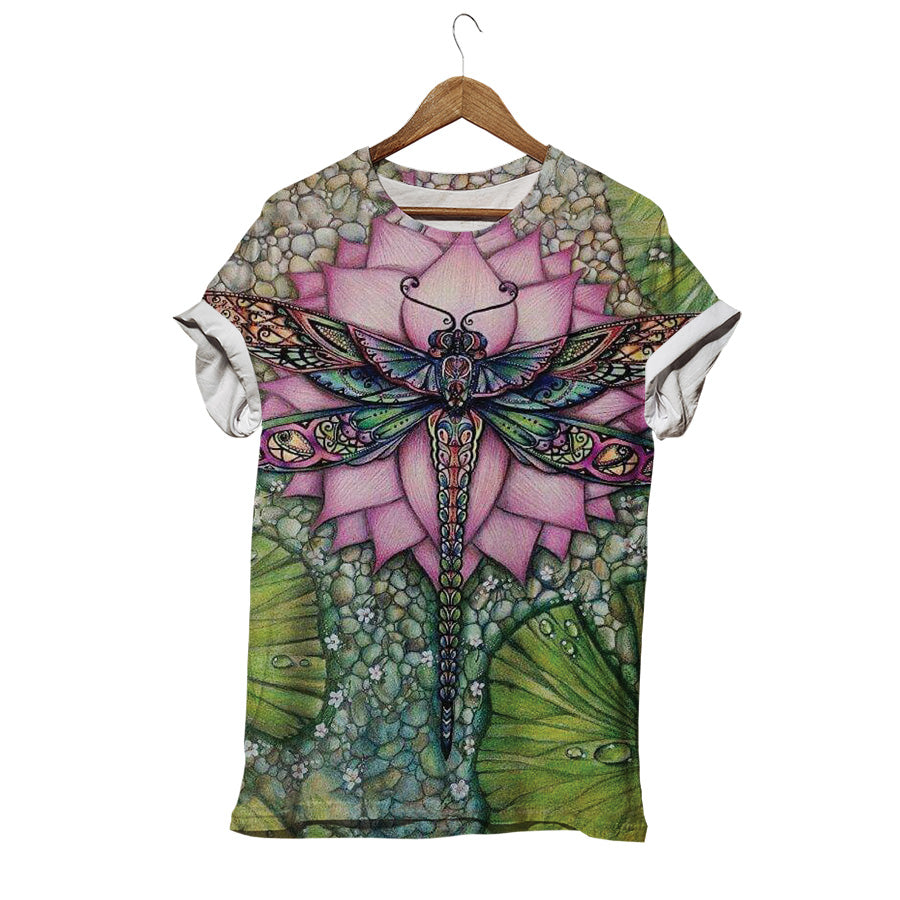 DRAGONFLY ON LOTUS T-SHIRT