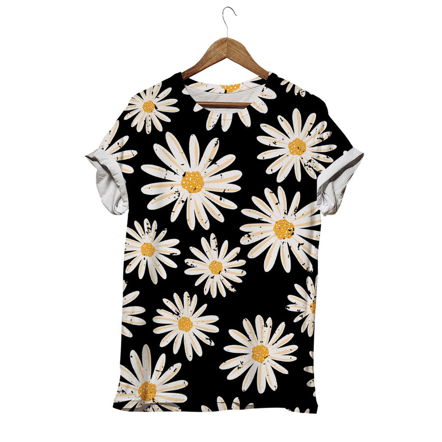 WHITE GERBERA ON BLACK T-SHIRT