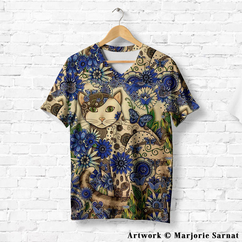CREATIVE HEAVEN CAT WITH FLOWERS T-SHIRT