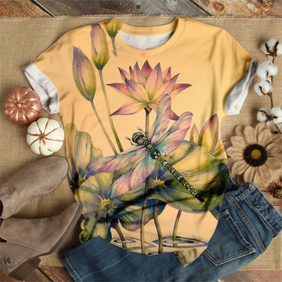 DRAGONFLY ON LOTUS FLOWER T-SHIRT