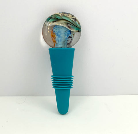 Bottle Stopper, D50, The 4 Elements Design, Blown Glass Top with Teal Blue Silicone Base
