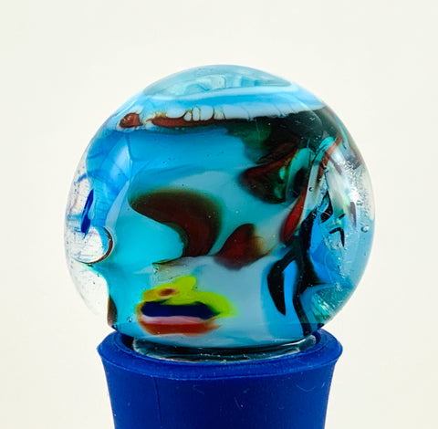 Bottle Stopper, DL3, Blown Glass Top with Blue Silicone Base