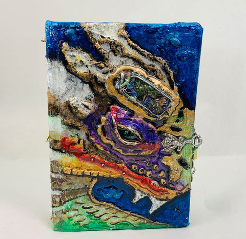 Dragon Eye, Hand Painted and Sculpted Blank Journal with Hummingbird Forest, Quartz Crystals and Lock