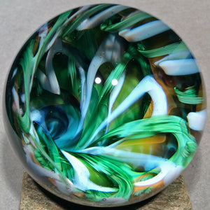 "Vortex Art Glass Marble by Bill Grout 2.04"" Tangle Trove 101119b Boro Glass"