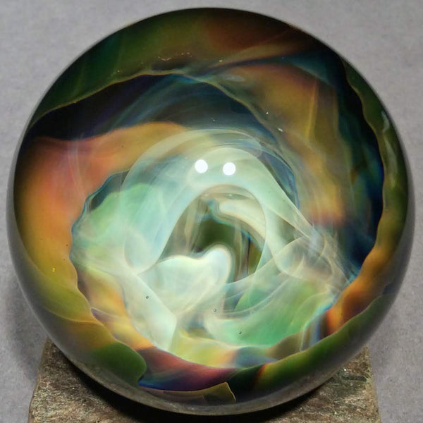 "Vortex Art Glass Marble by Bill Grout 1.99"" Night Dust Storm 101419a Boro Glass"