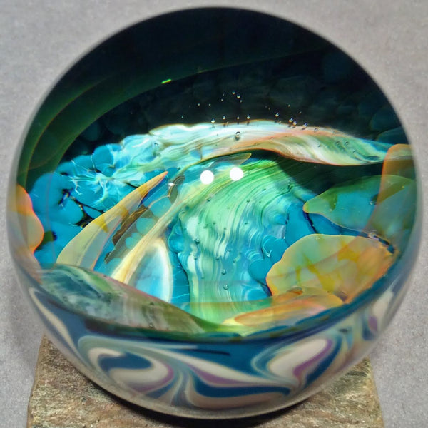 "Vortex Art Glass Marble by Bill Grout 1.98"" Tropical Memories 102019b Boro Glass"