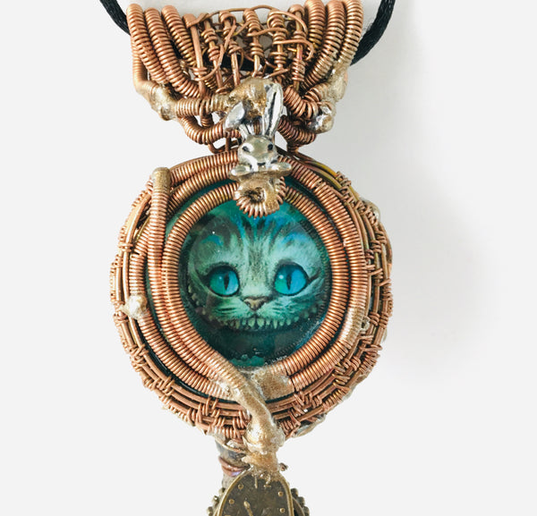 Cheshire Cat on a Large Iron Skeleton Key