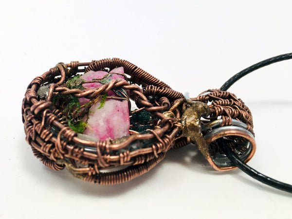 Terrain Pendant, Pink Magical Rock, with Gemstones, Tree of Life and quartz Crystal