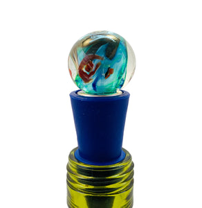 Bottle Stopper, Roses in the Ocean, Blown Glass Top with Blue Silicone Base