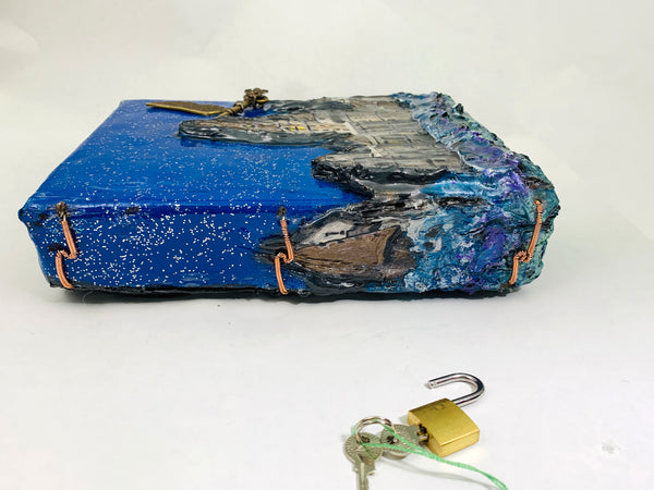 Hogwarts Castle, Hand Painted and Sculpted, Blank Journal Notebook with Lock and Keys