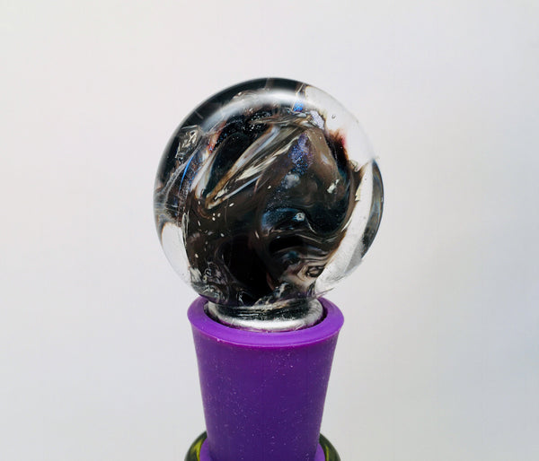 Bottle Stopper, Smoke On The Water, Italian Glass with Deep Purple Silicon Base