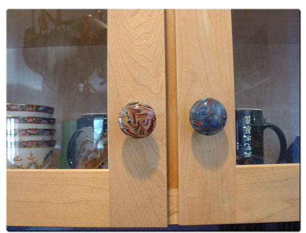 Cabinet Knob, Glass Drawer Pull, Cobalt, White  DP018 Hand Blown Glass